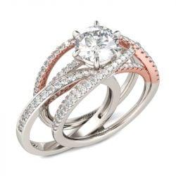 Two Tone Crossover Round Cut Interchangeable Sterling Silver Ring Set