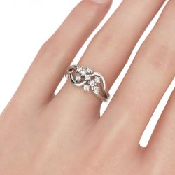 Floral Split Shank Round Cut Sterling Silver Ring