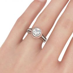 Two Tone Halo Split Shank Round Cut Sterling Silver Ring
