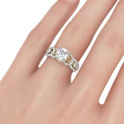 Two Tone Floral Round Cut Sterling Silver Ring