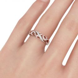 Two Tone Scrollwork Sterling Silver Women's Band