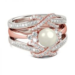 Two Tone Faux Pearl Sterling Silver Enhancer Ring Set