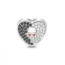 Heart Shape Black & White Stone Skull Charm Sterling Silver