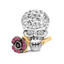 Rose & Skull Charm Sterling Silver