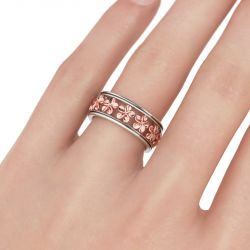 Two Tone Flower Sterling Silver Women's Band