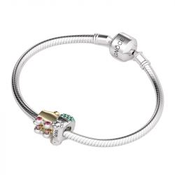 Two Tone Train Charm Sterling Silver