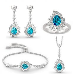 """Jeulia """"Love is in the Air"""" Sterling Silver Jewelry Sets"""