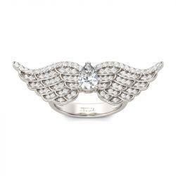 Angel Wings Pear Cut Sterling Silver Ring