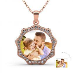 Gold Tone Sunflower Personalized  Photo Necklace Sterling Silver