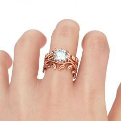 Rose Gold Tone Round Cut Sterling Silver Ring