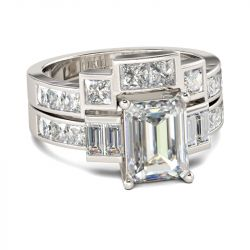 Contemporary Design Emerald Cut Sterling Silver Ring Set
