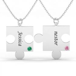 Engraved Puzzle Necklace With Name & Birthstones For Couple Sterling Silver