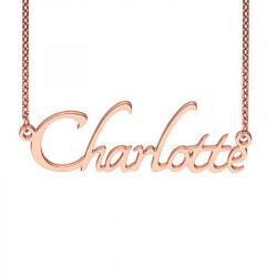 Rose Gold Tone Tangerine Style Name Necklace