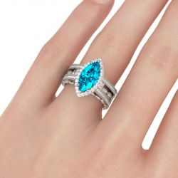 Halo Marquise Cut Interchangeable Sterling Silver Ring Set