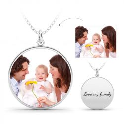 Engraved Family Personalized  Photo Necklace Sterling Silver