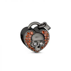 Heart Shape Skull Charm Sterling Silver