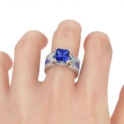 Unique Princess Cut Sterling Silver Ring Set