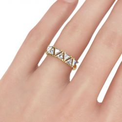Gold Tone Trillion Cut Sterling Silver Women's Band