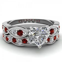 Milgrain Heart Cut Sterling Silver Ring Set