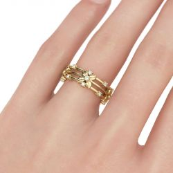 Gold Tone Floral Sterling Silver Women's Band