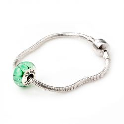 Green Bubbles Glass Charm