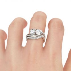 Bypass Two Stone Round Cut Sterling Silver Ring Set