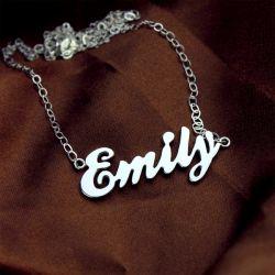 Silver Cursive Script Name Necklace