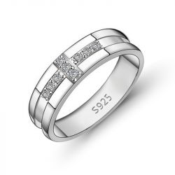 Round Cut Sterling Silver Men's Band