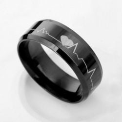 Jeulia Black Heartbeat Style Titanium Steel Women's Ring