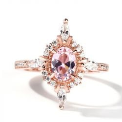 Jeulia Oval Cut Vintage Synthetic Morganite Sterling Silver Ring