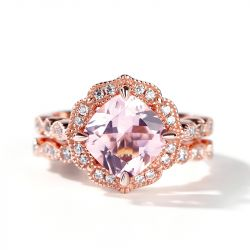 Floral Halo Cushion Cut Synthetic Morganite Sterling Silver Ring Set