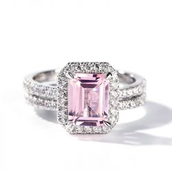 Jeulia Halo Emerald Cut Synthetic Morganite Sterling Silver Ring Set