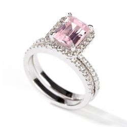 Halo Emerald Cut Synthetic Morganite Sterling Silver Ring Set