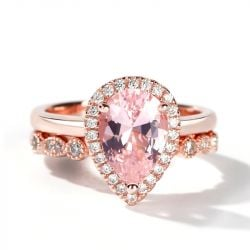Halo Milgrain Pear Cut Synthetic Morganite Sterling Silver Ring Set