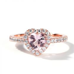 Jeulia Halo Heart Cut Synthetic Morganite Sterling Silver Ring