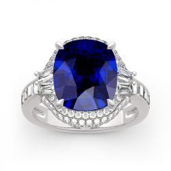 Halo Cushion Cut Sterling Silver Ring