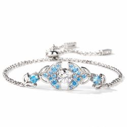 Jeulia Butterfly Round Cut Sterling Silver Bracelet