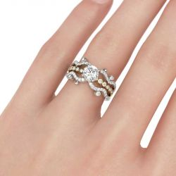 Two Tone Wavy Round Cut Interchangeable Sterling Silver Ring Set