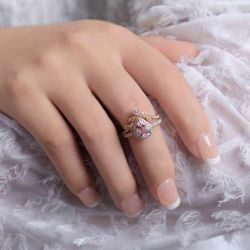 Halo Pear Cut Synthetic Morganite Sterling Silver Ring Set