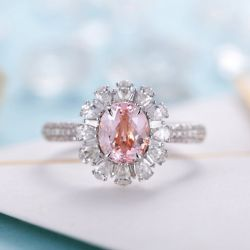 Floral Halo Oval Cut Synthetic Morganite Sterling Silver Ring