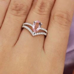 Pear Cut Synthetic Morganite Sterling Silver Ring