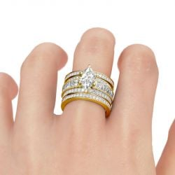 3PC Marquise Cut Sterling Silver Ring Set