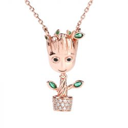 """I am Groot"" Tree Man Sterling Silver Dangle Necklace"