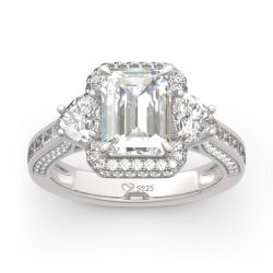 Halo Three Stone Emerald Cut Sterling Silver Ring