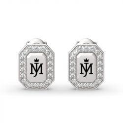 Michael Jackson Commemorative Round Cut Sterling Silver Earrings