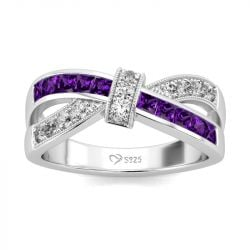 Jeulia Crossover Sterling Silver Women's Band