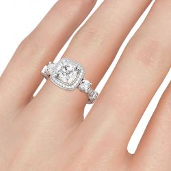 Jeulia Halo Three Stone Cushion Cut Sterling Silver Ring