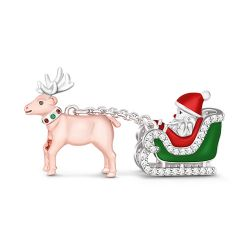 """Merry Christmas"" Santa Claus Is Coming To Town Sterling Silver Charm"