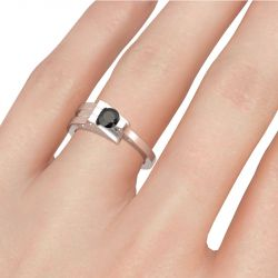 T-shaped Round Cut Sterling Silver Cocktail Ring