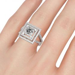 Double Halo Princess Cut Sterling Silver Ring